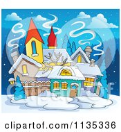 Cartoon Of A Winter Village With Snow At Night Royalty Free Vector Clipart