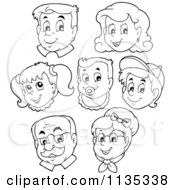 Cartoon Of Outlined Happy Family Faces Royalty Free Vector Clipart by visekart