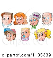Cartoon Of Happy Family Faces Royalty Free Vector Clipart by visekart