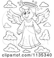 Cartoon Of An Outlined Girl Angel And Clouds Royalty Free Vector Clipart