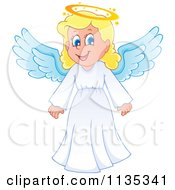 Cartoon Of A Blond Girl Angel Royalty Free Vector Clipart by visekart