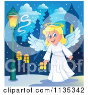 Cartoon Of A Blond Christmas Girl Angel Royalty Free Vector Clipart