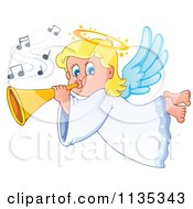 Cartoon Of A Blond Girl Angel Playing A Horn Royalty Free Vector Clipart by visekart