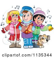 Cartoon Of Children Singing Christmas Carols Royalty Free Vector Clipart