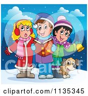Cartoon Of Children Singing Christmas Carols In The Snow Royalty Free Vector Clipart by visekart