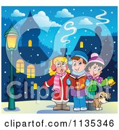 Cartoon Of Children Singing Christmas Carols In A Village Royalty Free Vector Clipart by visekart