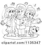 Cartoon Of Outlined Children Singing Christmas Carols Royalty Free Vector Clipart by visekart