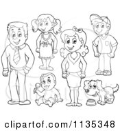 Cartoon Of An Outlined Family People And A Dog Royalty Free Vector Clipart