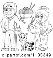 Outlined Senior Grandparents With Yarn And A Cat