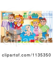 Cartoon Of A Happy Family In A Living Room Royalty Free Vector Clipart by visekart