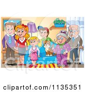 Cartoon Of A Happy Family And Cat In A Living Room Royalty Free Vector Clipart by visekart