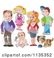 Cartoon Of Family People And A Dog Royalty Free Vector Clipart by visekart