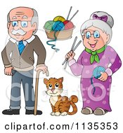 Senior Grandparents With Yarn And A Cat