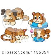 Cartoon Of A Cute Cats And A Dog Royalty Free Vector Clipart