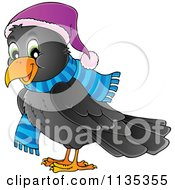 Cartoon Of A Happy Winter Raven In A Hat And Scarf Royalty Free Vector Clipart by visekart