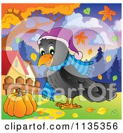 Cartoon Of A Happy Autumn Raven In A Hat And Scarf Royalty Free Vector Clipart by visekart
