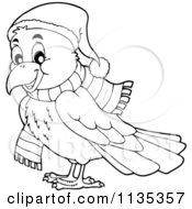 Cartoon Of An Outlined Winter Raven In A Hat And Scarf Royalty Free Vector Clipart