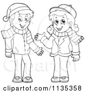 Cartoon Of An Outlined Boy And Girl In Scarves And Hats Royalty Free Vector Clipart