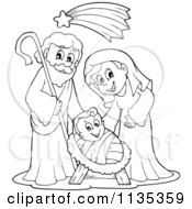Cartoon Of An Outlined Joseph Virgin Mary And Baby Jesus Nativity Scene Royalty Free Vector Clipart