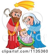 Cartoon Of A Joseph Virgin Mary And Baby Jesus Nativity Scene Royalty Free Vector Clipart by visekart