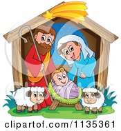 Cartoon Of A Nativity Scene Royalty Free Vector Clipart