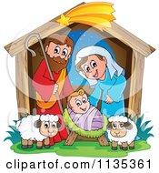 Cartoon Of A Nativity Scene Royalty Free Vector Clipart