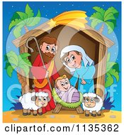Cartoon Of A Nativity Scene With Palm Trees Royalty Free Vector Clipart