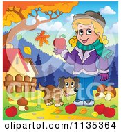 Cartoon Of A Girl And Dog With Mushrooms And Apples Under An Autumn Tree Royalty Free Vector Clipart