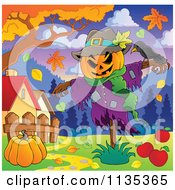 Cartoon Of A Scarecrow And Bird With A Pumpkin Under An Autumn Tree Royalty Free Vector Clipart by visekart