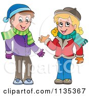 Cartoon Of A Boy And Girl In Scarves And Hats Royalty Free Vector Clipart