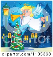 Cartoon Of A Blond Christmas Girl Angel Playing A Horn Over A Tree Royalty Free Vector Clipart by visekart