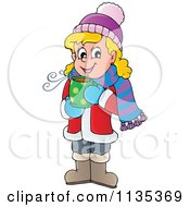 Cartoon Of A Happy Blond Girl Drinking Hot Cocoa Royalty Free Vector Clipart by visekart