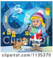 Cartoon Of A Dog By A Girl Drinking Hot Cocoa Royalty Free Vector Clipart