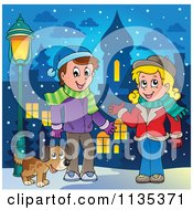 Cartoon Of A Dog By A Boy And Girl In Scarves And Hats Royalty Free Vector Clipart