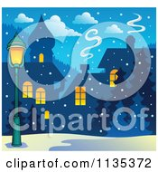 Cartoon Of A Street Light And Winter Village With Snow At Night Royalty Free Vector Clipart