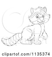Cartoon Of A Cute Outlined Raccoon Royalty Free Vector Clipart by Alex Bannykh