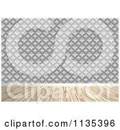 Clipart Of A Room Interior With Damask Wallpaper And Wood Floors Royalty Free CGI Illustration by Arena Creative