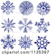 Clipart Of Dark Blue Snowflakes Royalty Free Vector Illustration