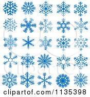 Clipart Of Blue Snowflakes Royalty Free Vector Illustration