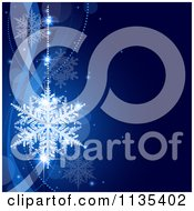 Clipart Of A Blue Snowflake Winter And Wave Background 1 Royalty Free Vector Illustration