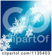 Clipart Of A Blue Snowflake Winter And Wave Background 2 Royalty Free Vector Illustration by dero