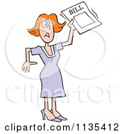 Cartoon Of A Stressed Woman Holding A Bill Royalty Free Vector Clipart
