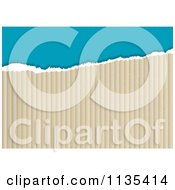 Clipart Of A Torn Cardboard And Blue Background Royalty Free Vector Illustration