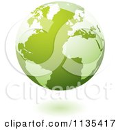 Clipart Of A Floating Green Planet Earth And Shadow Royalty Free Vector Illustration