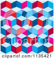 Clipart Of A Tricolor Optical Cube Background Royalty Free Vector Illustration by michaeltravers