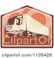 Clipart Of A Retro Big Rig Container Truck And Trailer Royalty Free Vector Illustration by patrimonio