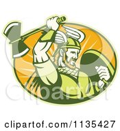 Clipart Of A Retro Viking Warrior With A Winged Helmet And Battle Axe In An Oval Royalty Free Vector Illustration