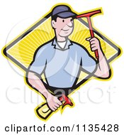 Retro Window Cleaner Worker With A Squeegee And Spray Bottle Over A Diamond