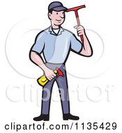 Retro Window Cleaner Worker With A Squeegee And Spray Bottle