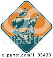 Clipart Of A Retro Tall Galleon Ship At Sea In An Orange Diamond Royalty Free Vector Illustration